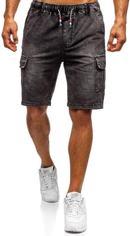JNBGYAPS Men Washed Elastic Waist Multi-Pockets Casual Straight Leg Denim Shorts Jeans
