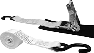 CustomTieDowns 2 Inch x 10 Foot 3000 lbs Breaking Strength Stainless Steel Ratchet Strap with Protective Pad Under Buckle and Vinyl Coated S Hooks.(White)