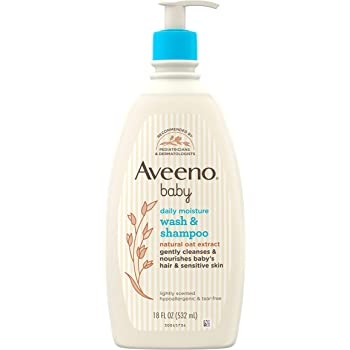 Aveeno Baby Daily Moisture Gentle Bath Wash & Shampoo with Natural Oat Extract, Hypoallergenic, Tear-Free & Paraben-Free Formula For Sensitive Hair & Skin, Lightly Scented, 18 fl. oz