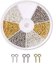600 dozen/doos met ijzeren bevestigingspennen met schroefoog, 10 mm x 4 mm x 1 mm, 2 mm gaten, semi-diamanten kralen voor ...