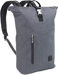The Friendly Swede Rolltop Rucksack mit 13 Zoll Laptopfach - Städtisch Leicht, Wasserfestes TPU - Minimalistischer Laptop Kurierrucksack Wasserdicht für Schule, Uni, Arbeit - Berthåga 16L Grau