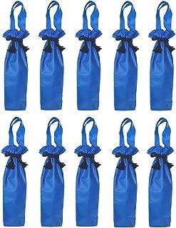 All Ocassions Designer Gift Bag | Non-Woven PP | Drawstring Closure| Single Bottle Oil Wine Alcohol Liquor Spirits Mixer Holiday Tote Holder Vineyard | Red Wine White Wine | 10 PACK SET (Dark Blue)