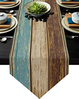 Big buy store Table Runner Rustic Vintage Wooden Board Cotton Line Table Covers for Dinner Kitchen Wedding Indoor and Outd...