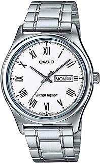 ساعة للرجال بسوار ستانلس ستيل ومينا بلون ابيض من كاسيو طراز MTP-V006D-7BUDF