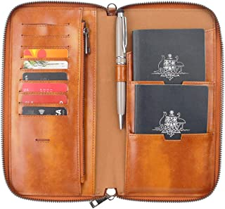 Gallaway Leather Passport Wallet - Two Passports Cards Cash Documents Boarding Pass Brown