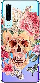 Oihxse beschermhoes voor Huawei P Smart/Enjoy 7S/Honor 9 Lite, transparant, TPU, doodskop, roze, motief beschermhoes, ultr...