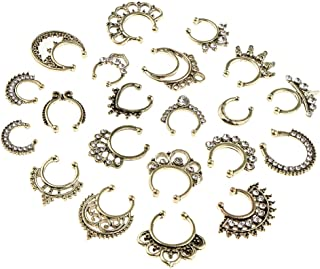Baosity 21pcs Assorted Clear Crystal Clip On Fake Septum Non Piercing Nose Ring Loop
