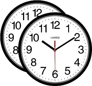 LAMIKO 2 بسته ساعت دیواری ساکت و بدون لرزش باتری کار می کند 10 اینچ کلاسیک ساعت دکوراتیو کوارتز آسان برای اتاق خواندن آشپزخانه اتاق خواب اتاق خواب دفتر مدرسه سیاه