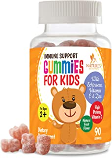 Kids Immune Support Gummies with Vitamin C, Echinacea and Zinc - Children's Immunity System Booster & Vitamin C Gummy, Tasty Natural Fruit Flavor, by Nature's Nutrition - 90 Gummy Bears