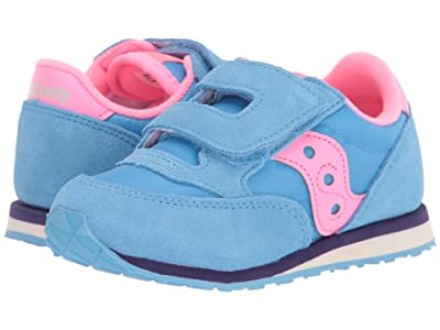 Saucony Kids Originals Jazz Hook Loop (Toddler/Little Kid) (Blue/Pink) Girls Shoes