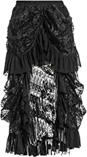 Women's Black Lace Victoria Gothic Long Maxi Skirt for Party