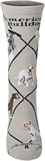 American Bulldog on Gray Lightweight Stretch Cotton Crew Sock Adult Unisex Size 10-13