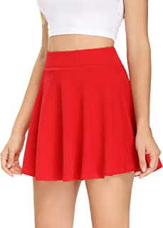 Women's Pleated Tennis Skirt with Shorts Pockets for Running Golf Workout Mini Flared Skater Skirt