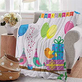 Luoiaax Kids Birthday Luxury Special Grade Blanket Singing Birds Happy Birthday Song Flags Cone Hats Party Cake Celebration Multi-Purpose use for Sofas etc. W70 x L90 Inch Multicolor