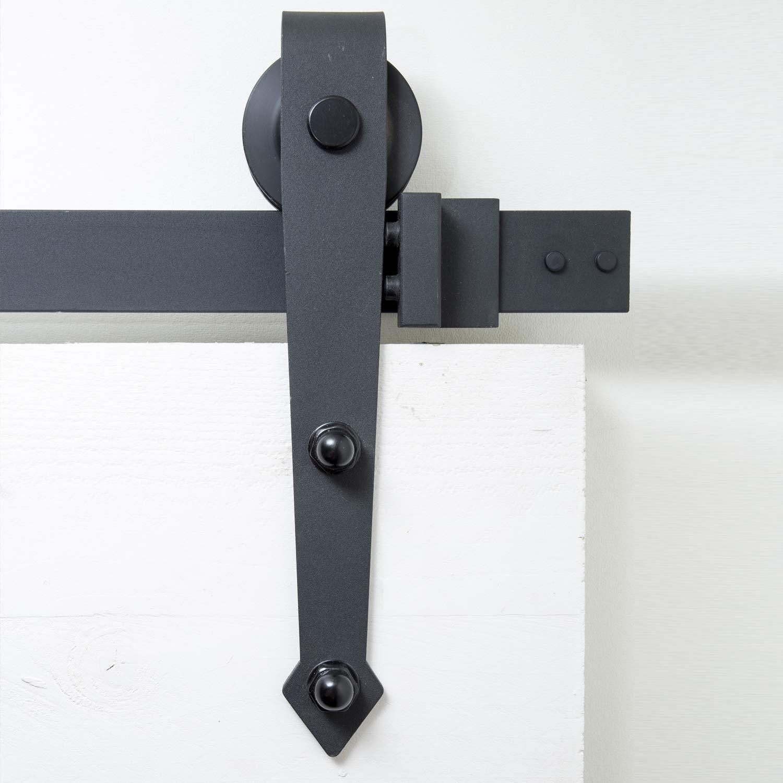 Sistema de puerta corredera, forma de flecha, 200 cm, juego completo con ruedas y riel, sistema de puerta corredera de 2 metros, forma de flecha - Arrow Black: Amazon.es: Bricolaje y herramientas