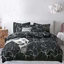 Jumeey Black Marble Bedding Set Twin Boys Black and White Abstract Texture Duvet Cover Set with Zipper Ties 1 Duvet Cover 2 Pillowcases Luxury Quality Soft Comfortable Easy Care,No Comforter