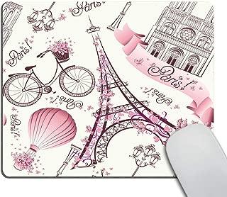 Smooffly Love Pink Paris Vintage Floral Eiffel Mouse Pad, Vintage Romantic Paris Floral Bike Painting Print Art Mouse Pads 9.5 X 7.9 Inch (240mmX200mmX3mm)