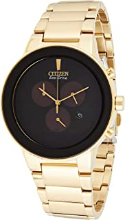 Citizen Men's Black Dial Stainless Steel Band Watch - aT2242-55E, Gold