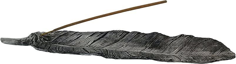 Mom's Majestics - 2018 Ceramic Feather Incense Stick Burner, Ash Catcher, Ceramic, Glazed, Gifts & Decor (Grey)