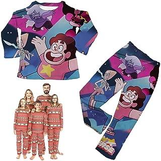 Top Mens Pajama Sets, Steven-Universe Christmas Pajamas, Family Jammies Cartoon Holiday Matching Pajamas Couple, Classic Long-Sleeved Sleepwear