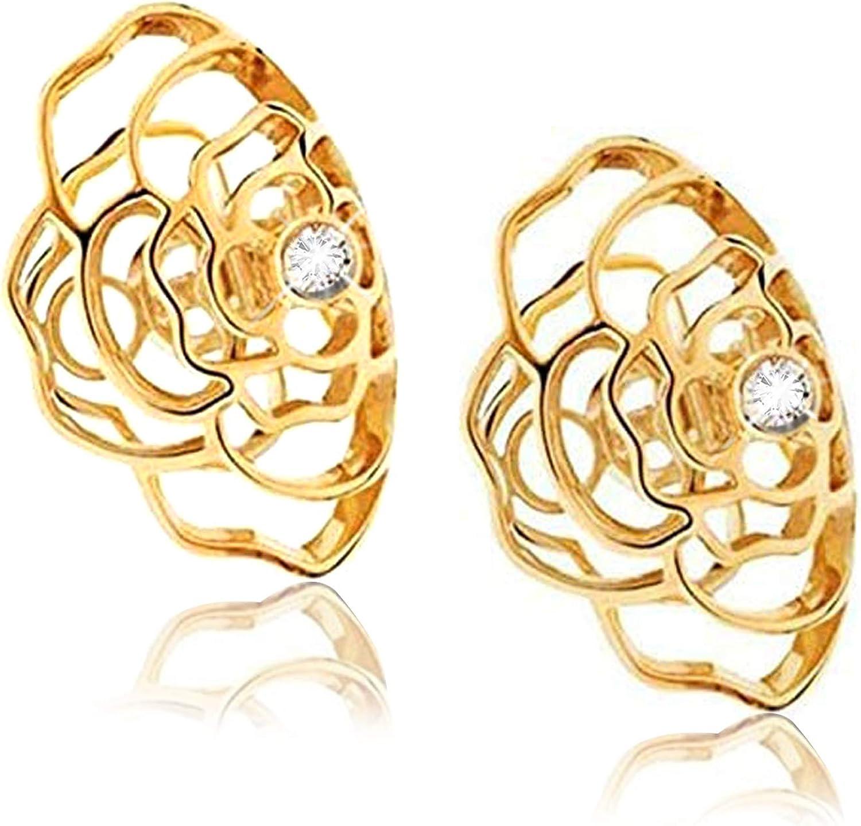 Vintage Camelia Ear Cuff, Elegant Non Pierced Hypoallergenic Ear Bone Clip with Rhinestone, Adjustable Camellia Modelling Wrap Earrings, Fake Cartilage Ear Cuff jewelry for Women