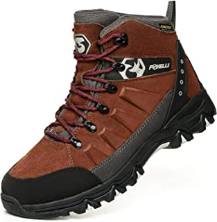 Foxelli Men's Hiking Boots – Waterproof Suede Leather Hiking Boots for Men, Breathable, Comfortable & Lightweight Hiking S...