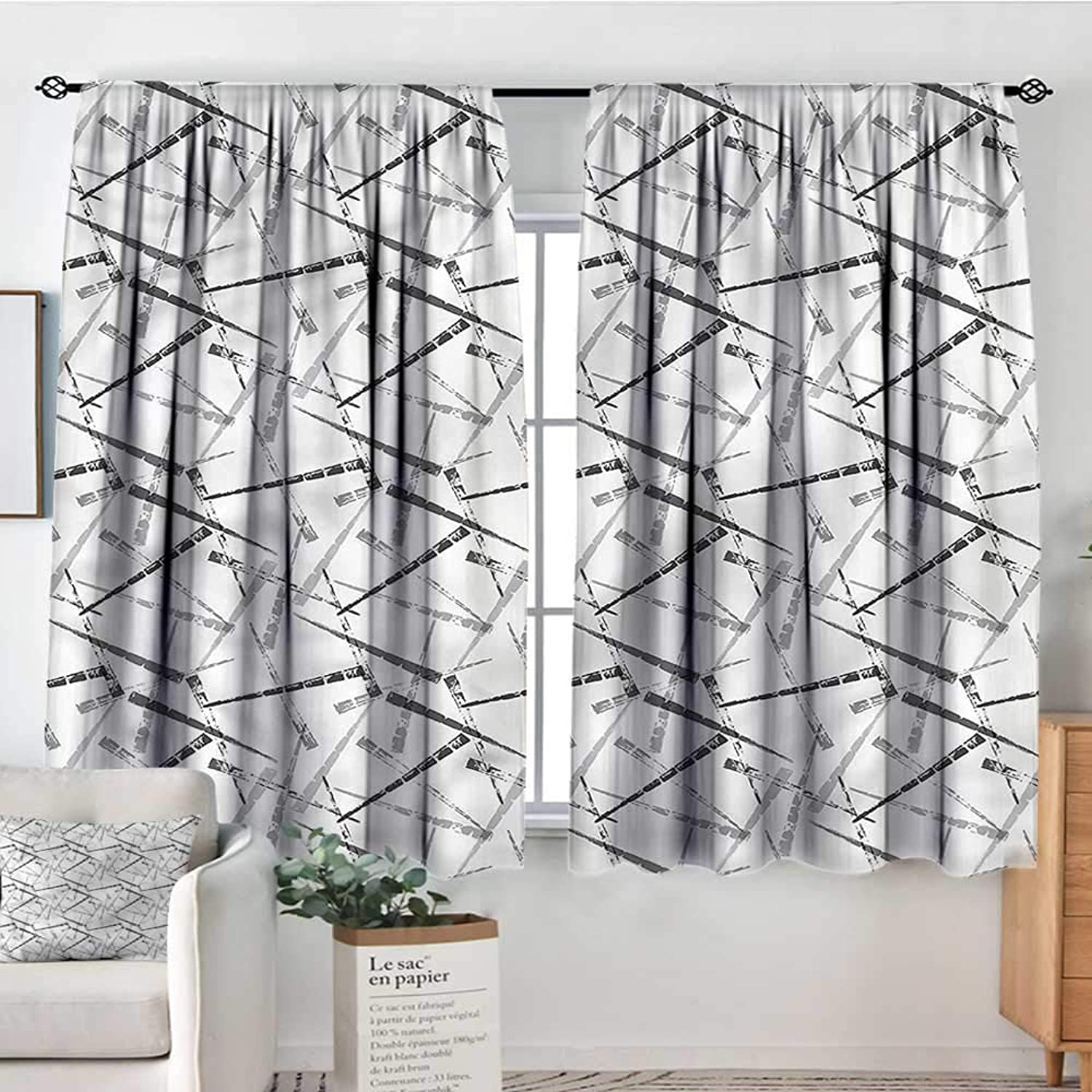 Grey,Boy's Iving Room Curtain Greyscale Grunge Effect Lines 42 X63  Indo Treatments for Short Indo