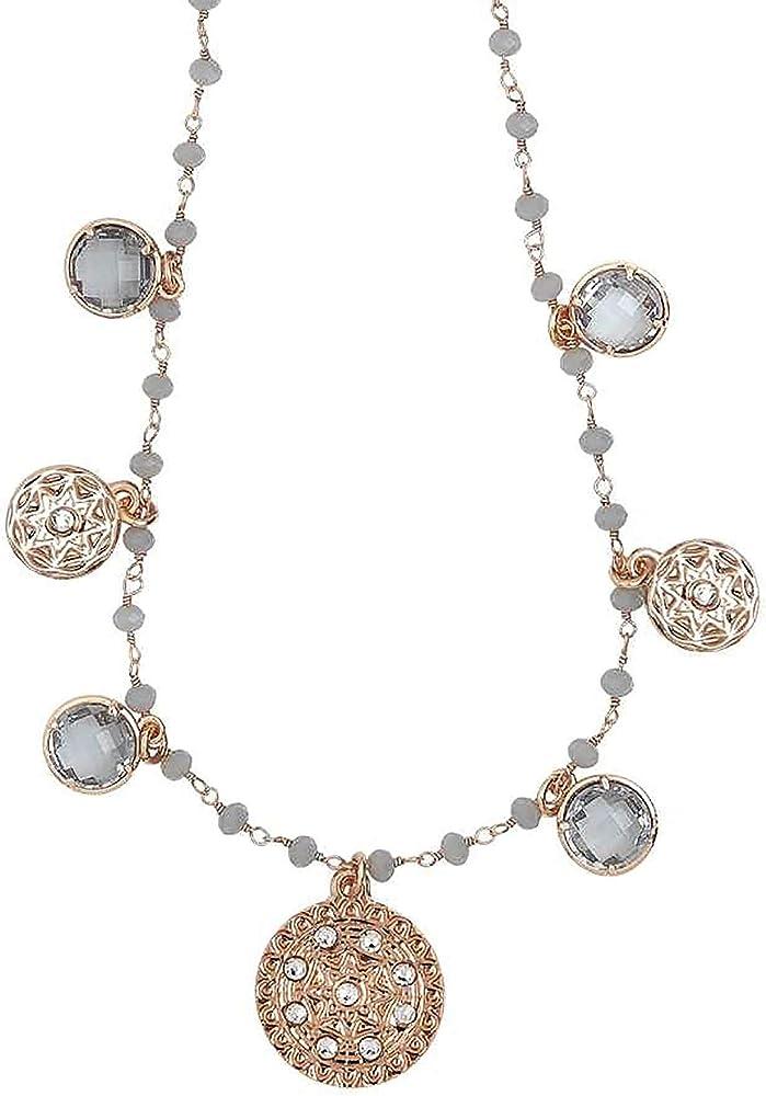 Boccadamo, collana per donna,in bronzo,placcata oro rosa con cristalli fumè e charms Xgr521Rs