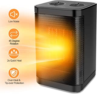 Ceramic Portable Space Heater with Adjustable Thermostat -1500W Mini Electric PTC Fan Heater with 2 Heat Settings,Overheat Protection and Safety Cut-Off For the Home and Office