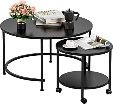 Homfa Nesting Coffee Table with Casters, Modern End Table Round Side Table Waterproof Tabletop Metal Frame Easy Assembly for