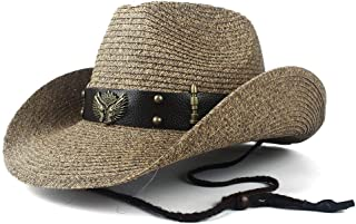 TX GIRL Western Cowboy Hat Women Men Hollow Western Cowboy Hat Lady Dad Beach Sombrero Hombre Straw Panama Cowgirl Jazz Sun Cap Size 56-58CM Novelty Party Costumes (Color : Coffee, Size : 56-58)