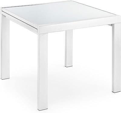 Salone Negozio Online Kit Tavolo ALLUNGABILE Kendra CM 90X140//190X78 Bianco//Cemento