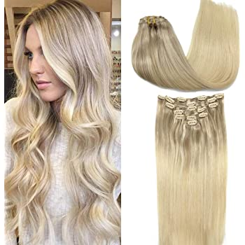 GOO GOO Human Hair Extensions Clip in Natural Ombre Ash Blonde to Golden Blonde and Platinum Blonde Remy Clip in Hair Extensions Straight Long 20 Inch 120g