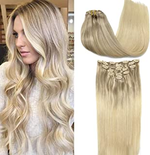 GOO GOO Human Hair Extensions Clip in Natural Ombre Ash Blonde to Golden Blonde and Platinum Blonde Remy Clip in Hair Exte...