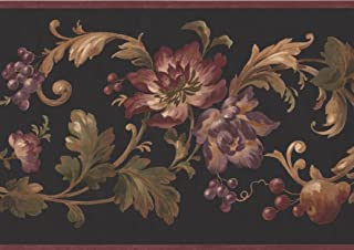Abstract Pink Violet Purple Flowers Apples Berries on Damask Vine Black Wallpaper Border Retro Design, Roll 15' x 9