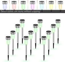户外花园灯 12 只装,TECBOX 太阳能走廊景观灯适用于花园/草坪/庭院/传动/行走道 - 可变色不锈钢防水 - 12 只装