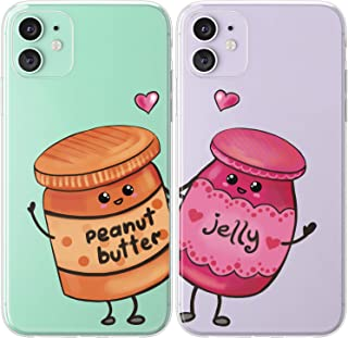 Mertak TPU Couple Cases for Apple iPhone 11 Pro Max Xs Xr X 10 8 Plus 7 6s SE 5s Food Design Cute Matching BFFs Kawaii Peanut Butter Protective Print Anniversary Relationship Girlfriend Jelly