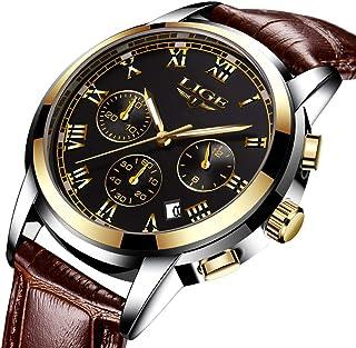 LIGE Watches Men Waterproof Stainless Steel Analogue Quartz Business Date Black Gold Wrist Watch for Man