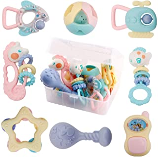 WISHTIME Baby Rattles Teether Baby Toys - 8 Pcs Shaker, Grab and Spin Rattle, Musical Toy Set, Early Educational Toys for ...