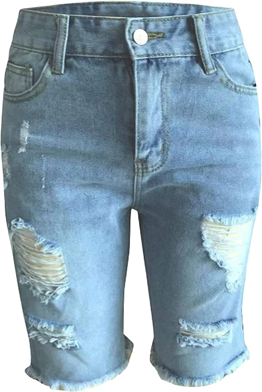 Frayed Bermuda Shorts for Women Straight Leg Ripped Raw Hem Jean Shorts Knee Length Relaxed Fit Destoyed Denim Shorts