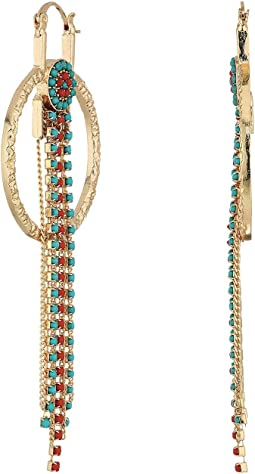 Steve Madden - Ring Bead Chain Fringe Dangle Earrings
