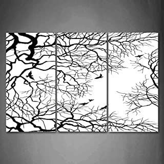 Hanging Wall Art Oil Painting 3 Panel,Nature 3D Picture Print,Birds Flying Over Twiggy Tree Branches Stylish Autumn Season Sky View Artwork,Home Decoration Wall Decor Gift,Black and White ,Indoor/Livi