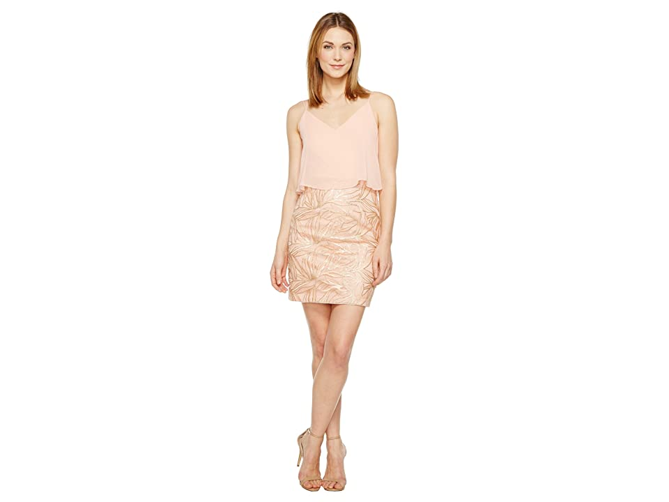 Image of Aidan Mattox Embroidered Popover Dress (Rose Gold) Women's Dress