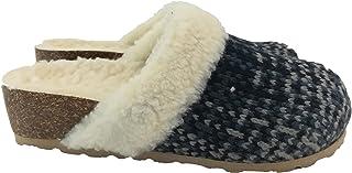 Silfer Shoes - Made in Italy - Scarpa - Zoccolo -Sabot in Vero Sughero Fodera,Lana, Tessuto Lana, Colore Blu/Grigio - Idea...