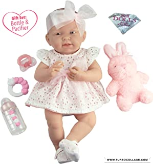 """JC Toys La Newborn All-Vinyl-Anatomically Correct Real Girl 15"""" Doll in White Eyelet Dress with Fluffy Bunny and Accessories Designed by Berenguer"""