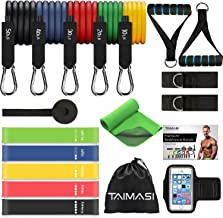 TAIMASI 19PCS Resistance Bands Set Workout Bands, 5 Stackable Exercise Bands with Handles, 5 Resistance Loop Bands, Cooling Towel, Sports Armband, Carry Bag, Guide Book, Ankle Straps, Door Anchor
