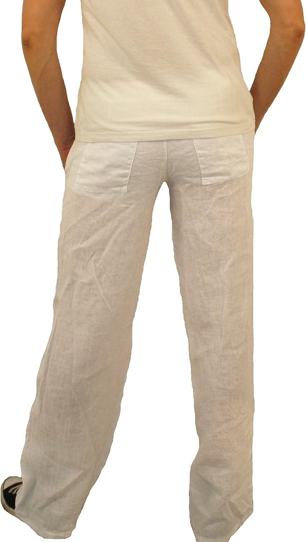 Perano 08139 Pantalons pour Hommes garçons Pantalons 100% Lin Bleu Beige Vert Brun Marron Noir Blanc Tailles M L XL XXL Blanc