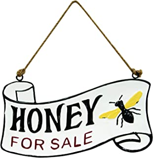 Col House Designs Honey for Sale Vintage Metal Hanging Sign Rustic Wall Decor Bee Signs
