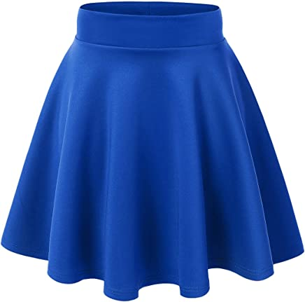 45a70ee74791 Made By Johnny Women's Basic Versatile Stretchy Flared Casual Mini Skater  Skirt XS-3XL Plus