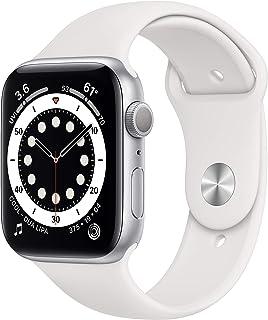 Novo Apple Watch Series 6 (GPS, 44 mm) - Caixa de alumínio prateada com pulseira esportiva branca